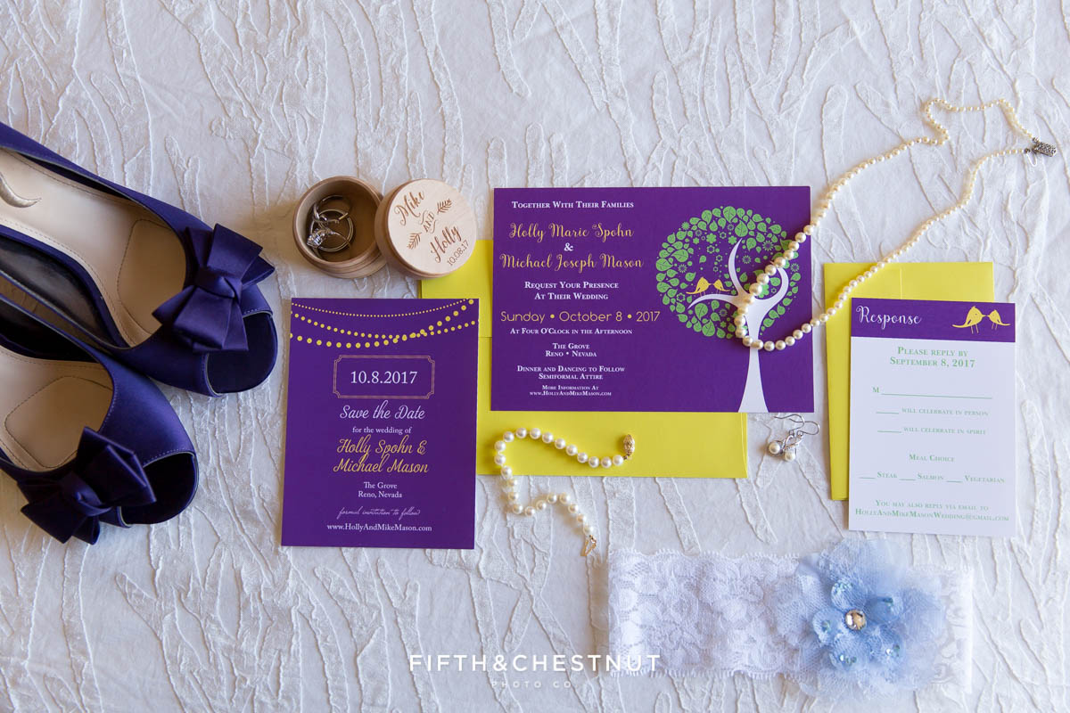Bride's wedding day shoes, invites and jewelry laid out and shot from above before a bright fall wedding at The Grove by Reno Wedding Photographer