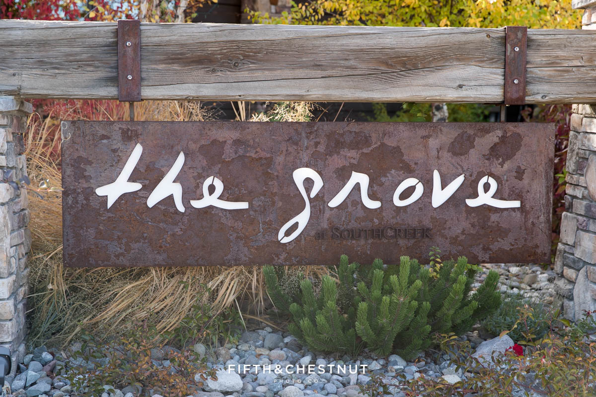 sign at the grove for a Bright fall wedding at the Grove by Reno Wedding Photographer