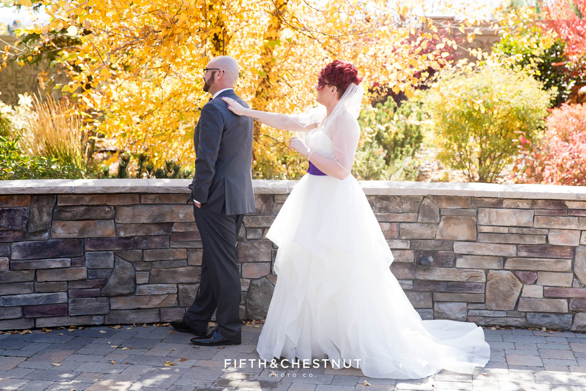 first look for a Bright fall wedding at the Grove by Reno Wedding Photographer