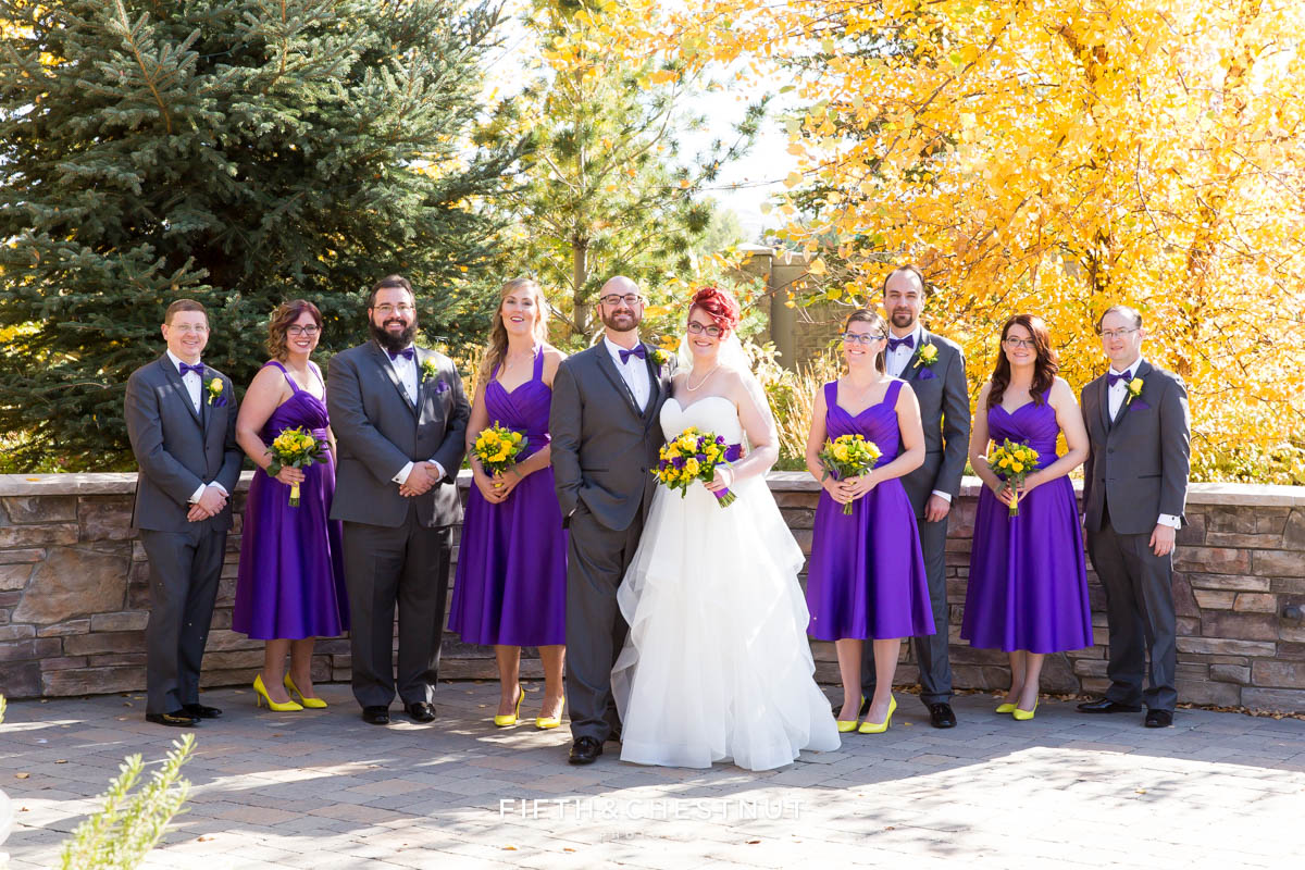 Wedding party at a Bright fall wedding at the Grove by Reno Wedding Photographer