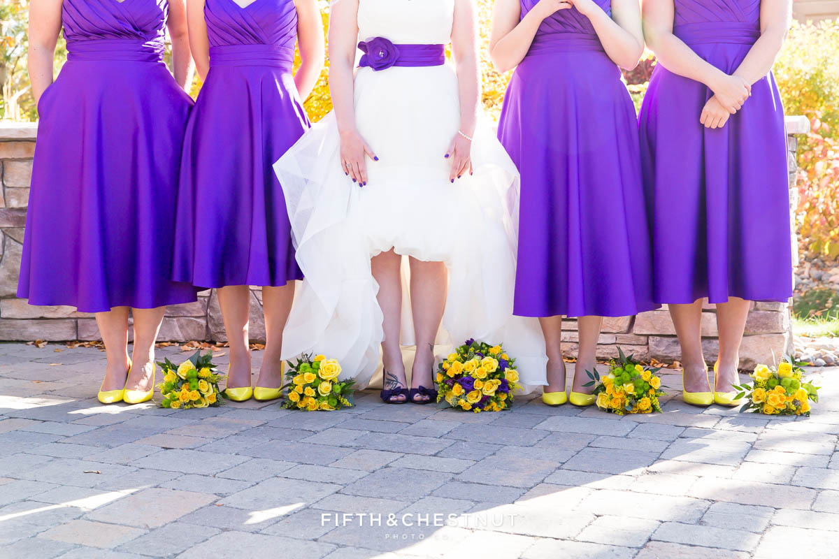 bridal party's shoes and bouquets for a Bright fall wedding at the Grove by Reno Wedding Photographer