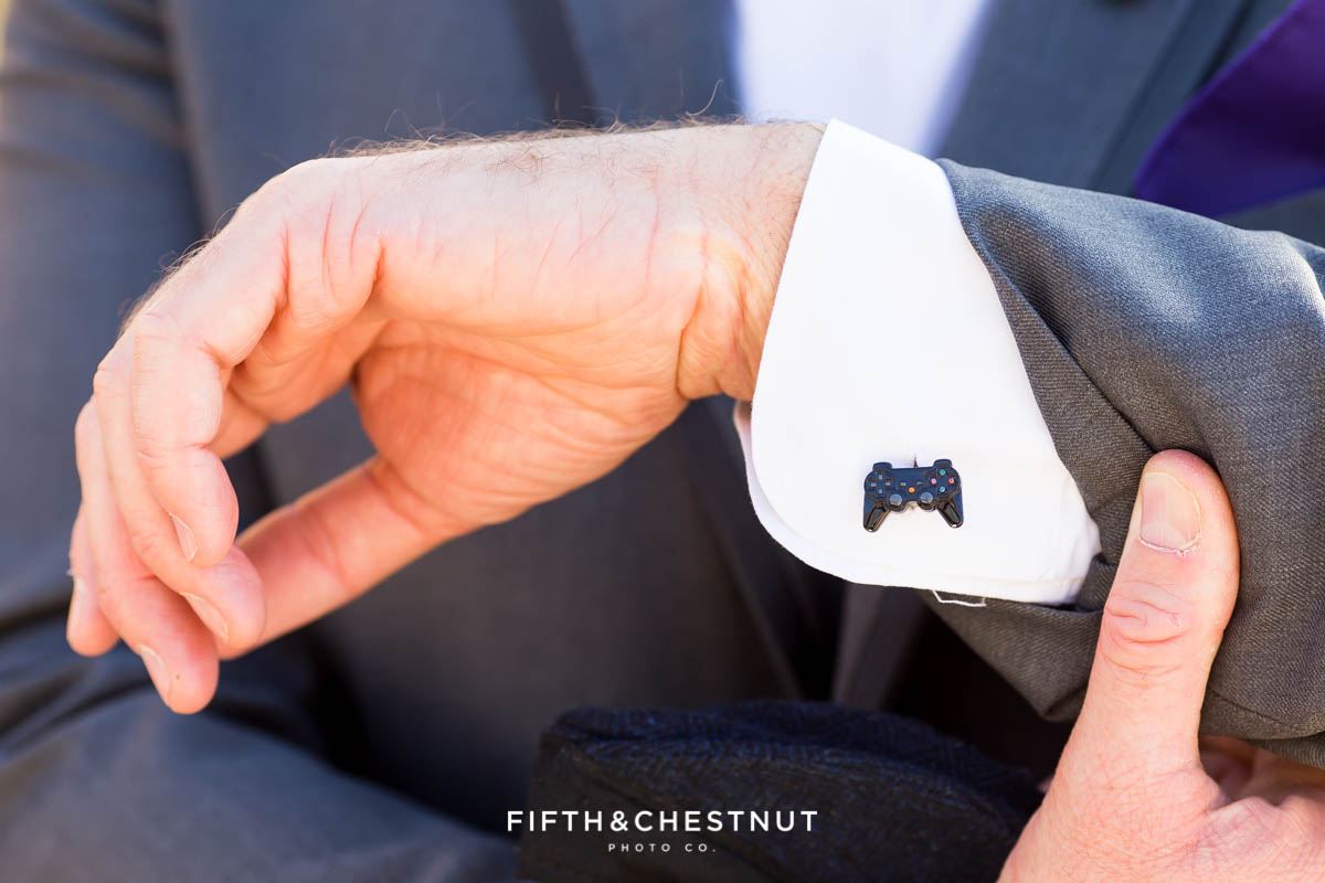 groom's playstation controller cufflink for a Bright fall wedding at the Grove by Reno Wedding Photographer