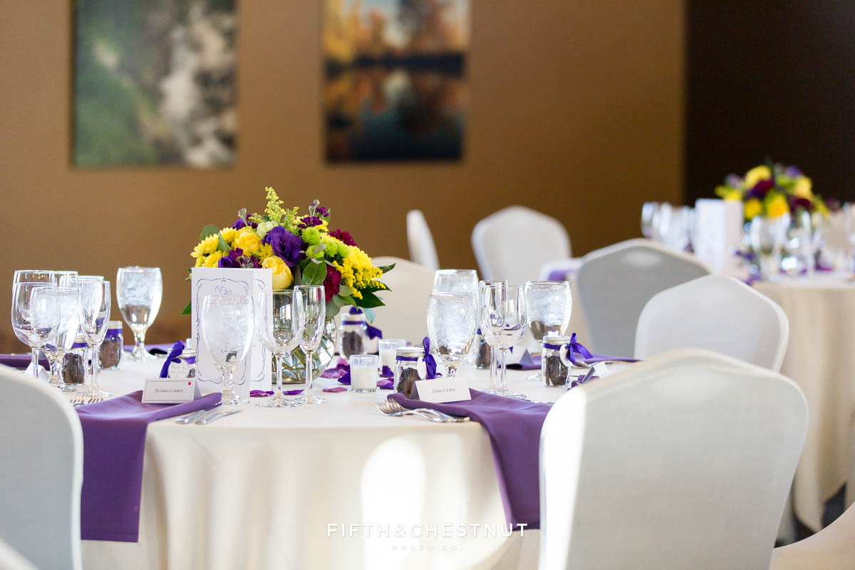 reception details for a Bright fall wedding at the Grove by Reno Wedding Photographer