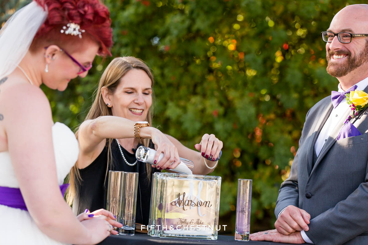 Unity sand ceremony at a Bright fall wedding at the Grove by Reno Wedding Photographer