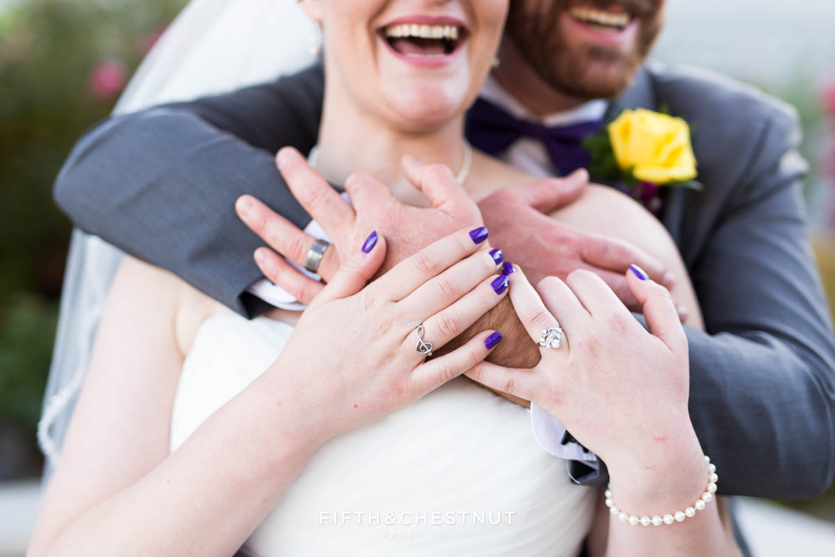 closeup on rings on bride and groom for a Bright fall wedding at the Grove by Reno Wedding Photographer