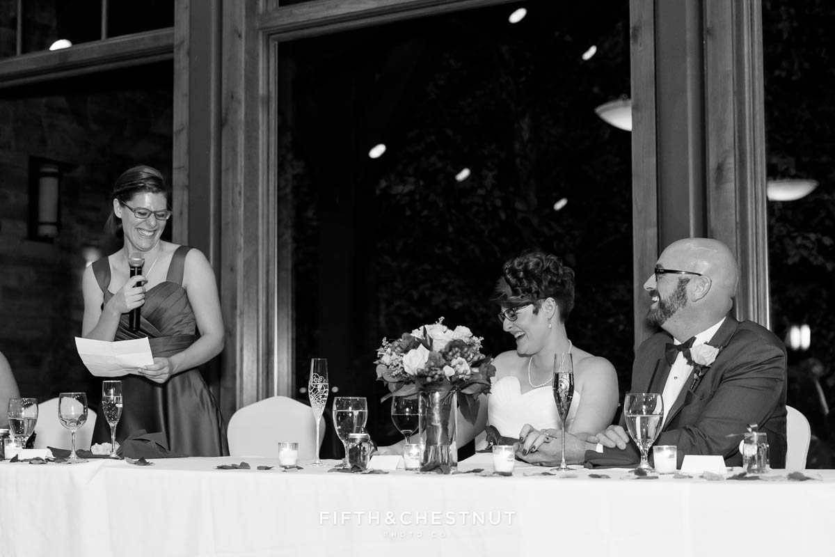 sister of bride toasts bride and groom and makes them laugh
