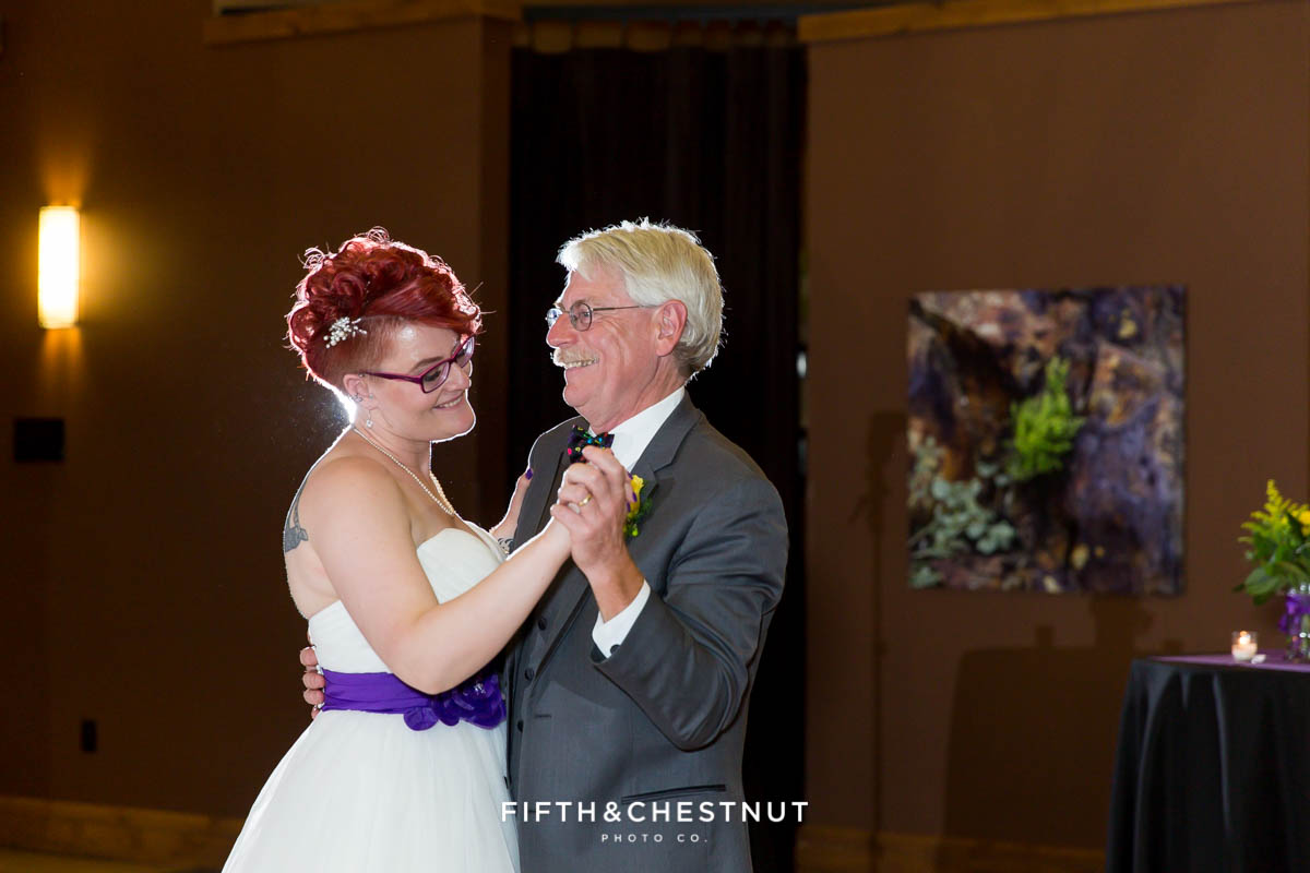 father daughter dance at a Bright fall wedding at the Grove by Reno Wedding Photographer