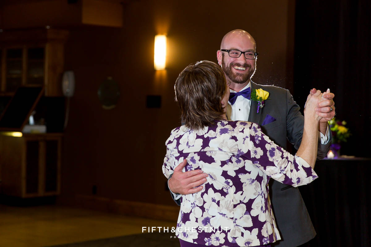mother son dance at a Bright fall wedding at the Grove by Reno Wedding Photographer