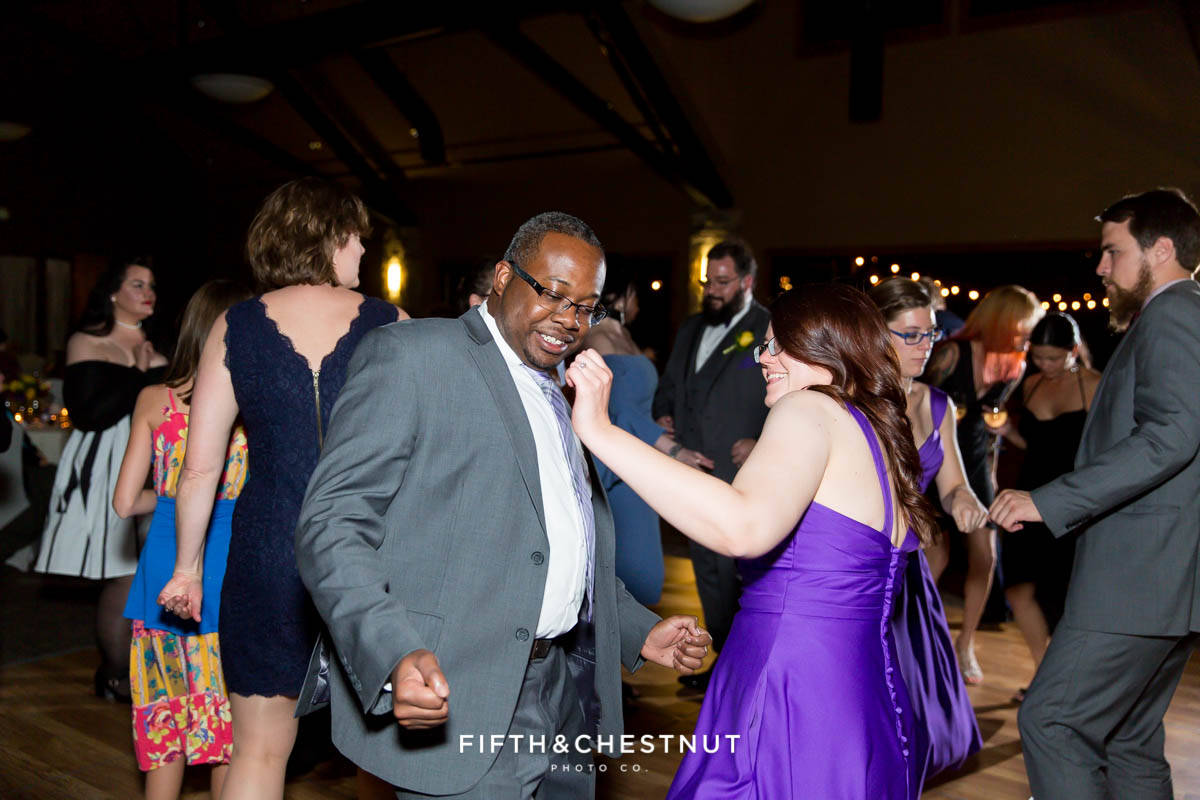guests dance during a Bright fall wedding at the Grove by Reno Wedding Photographer