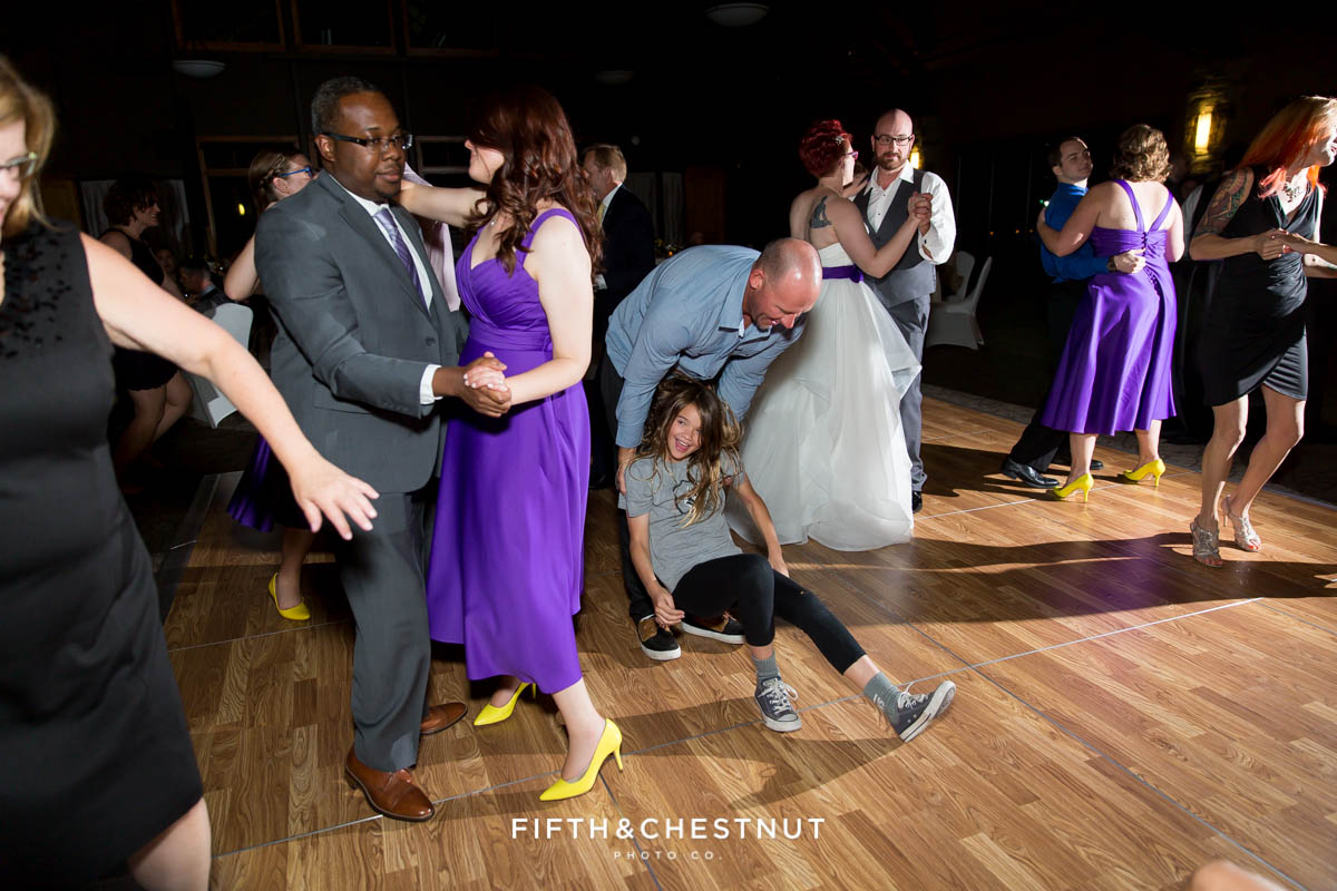 guests dance and have fun at a Bright fall wedding at the Grove by Reno Wedding Photographer