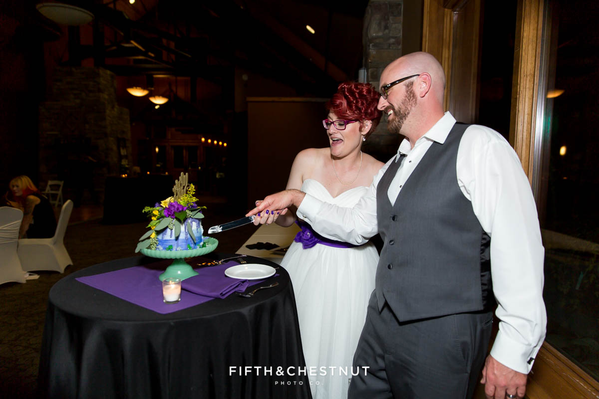 Cake cutting at a Bright fall wedding at the Grove by Reno Wedding Photographer