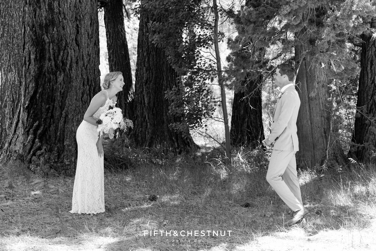 first look for a zephyr cove wedding by lake tahoe wedding photographer