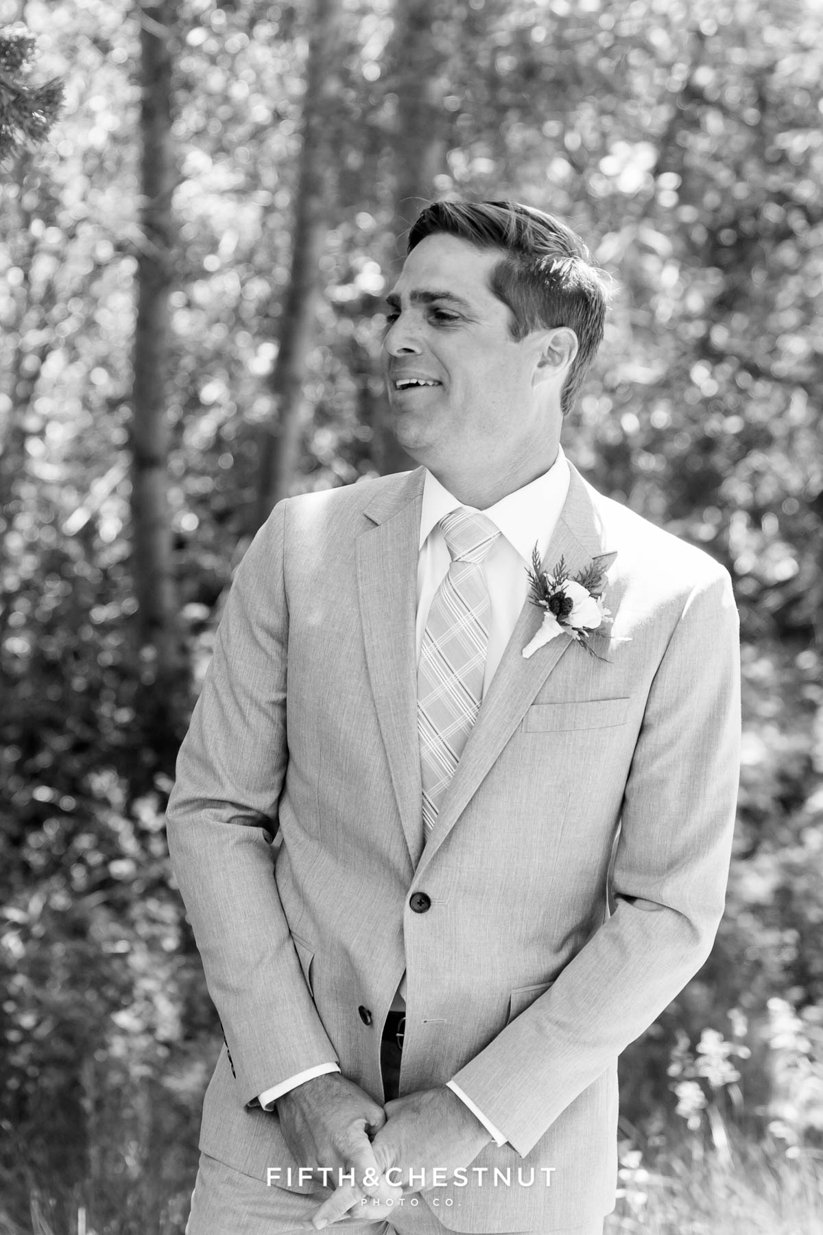 groom's reaction after seeing bride during their first look for a zephyr cove wedding by lake tahoe wedding photographer