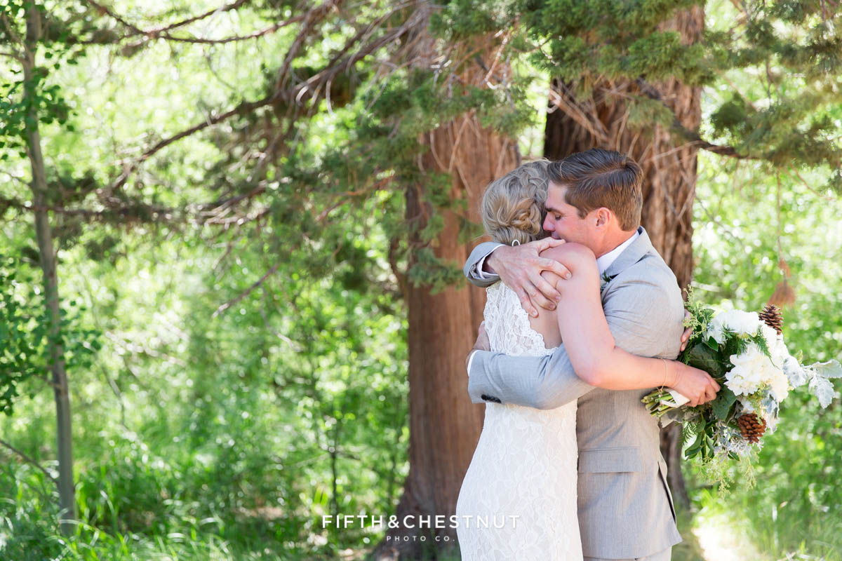 bride and groom embracing after first look for a zephyr cove wedding by lake tahoe wedding photographer