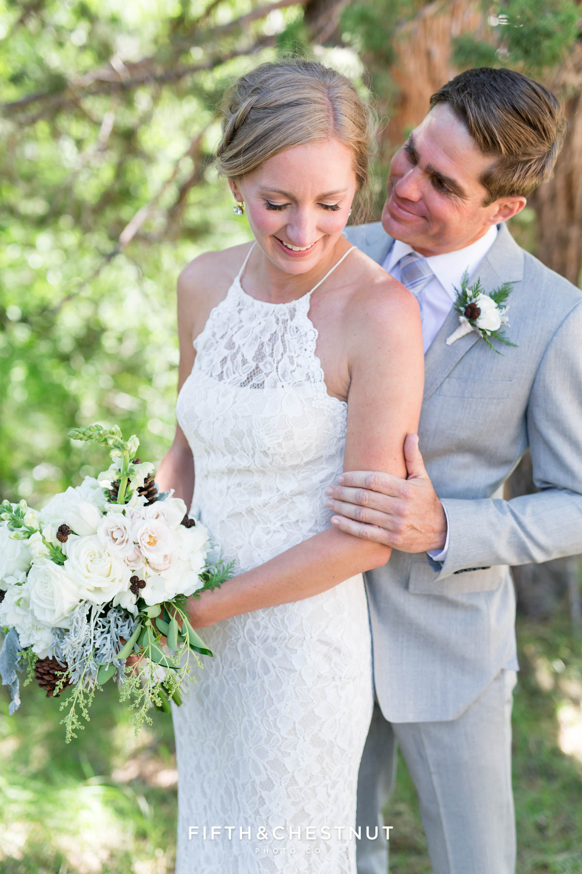 bride and groom portrait for a zephyr cove wedding by lake tahoe wedding photographer