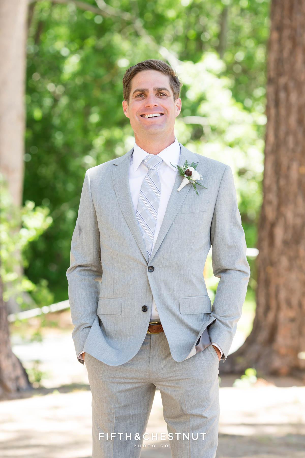 portrait of groom before his zephyr cove wedding by lake tahoe wedding photographer