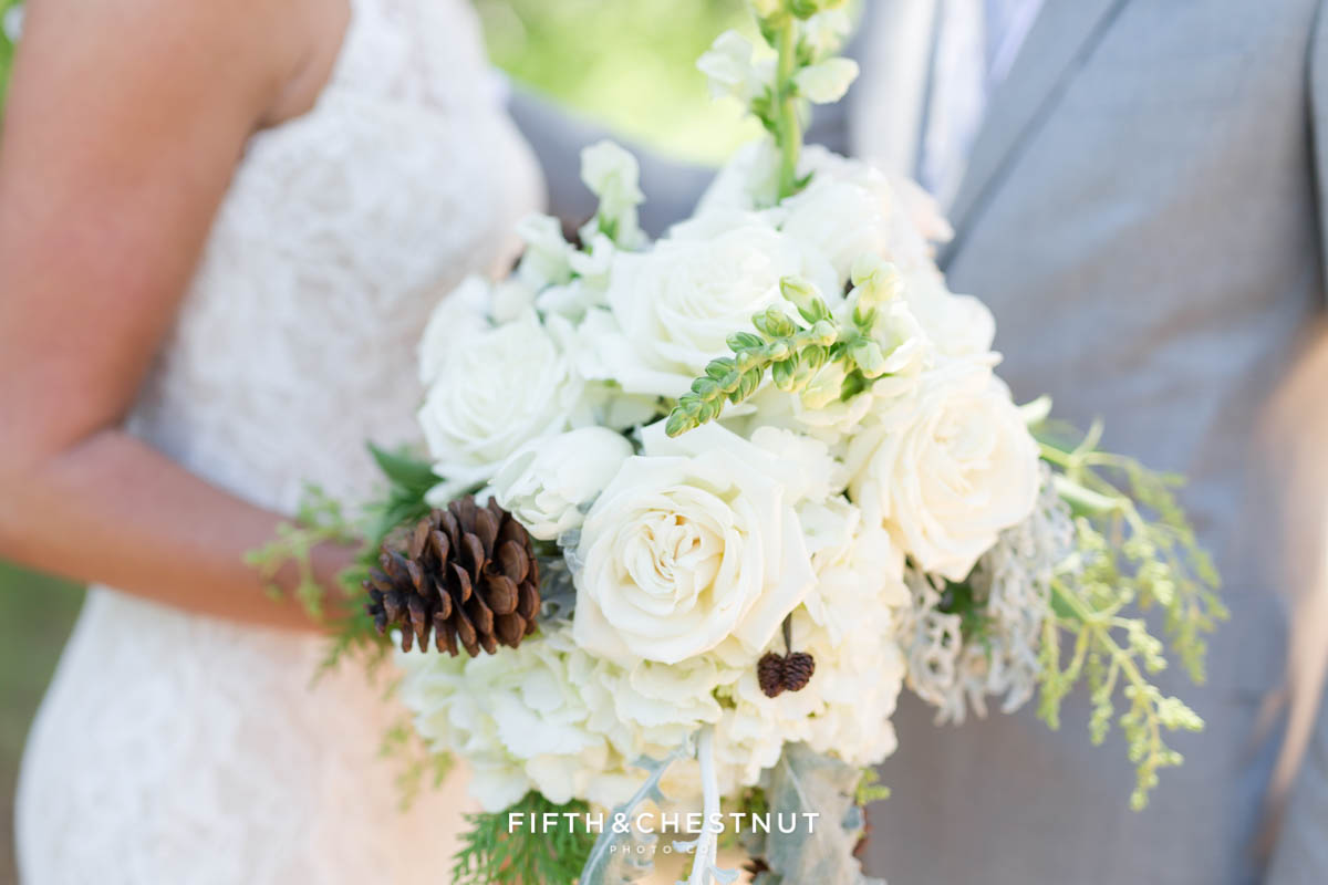 bouquet by twine and dandy before a zephyr cove wedding on a summer day