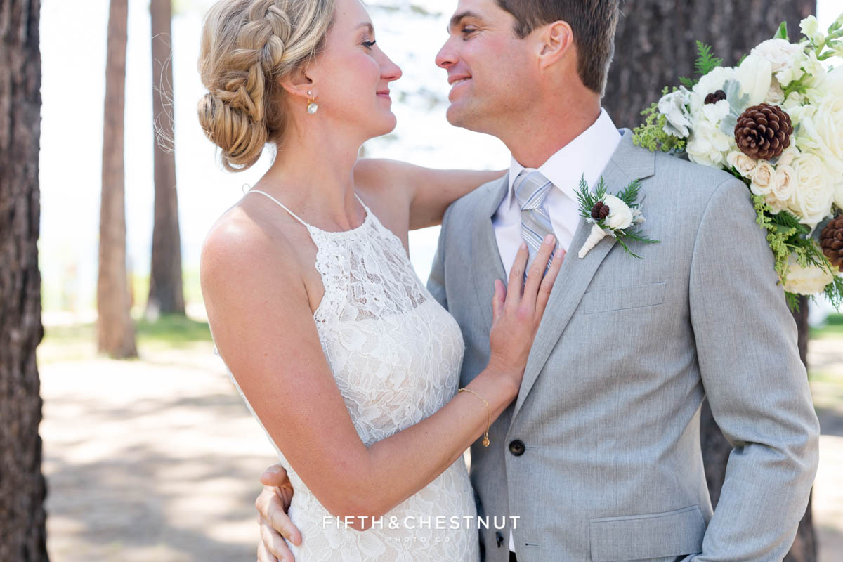 bride and groom look lovingly at each other for a wedding in lake tahoe wedding