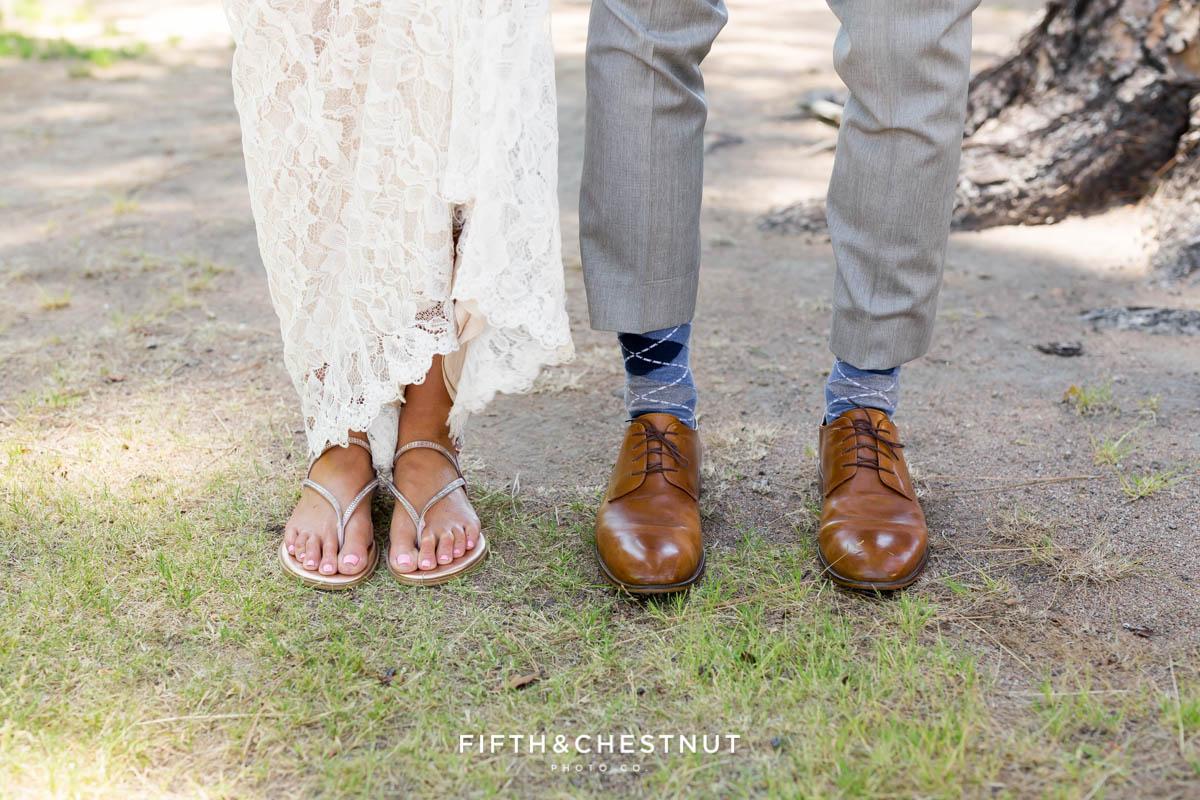 bride and groom's feet before their lake tahoe wedding