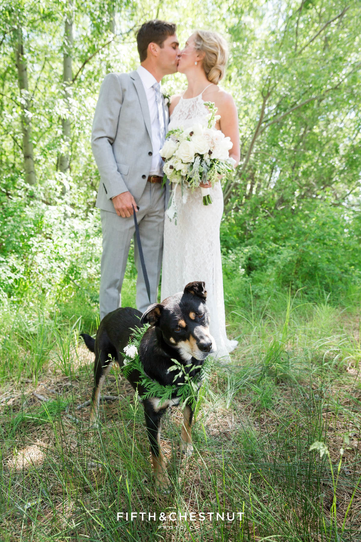bride and groom with their adopted dog wearing a floral collar for a south lake tahoe wedding