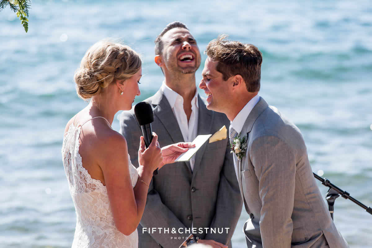 officiant and groom crack up at bride's vows during a lake tahoe wedding ceremony