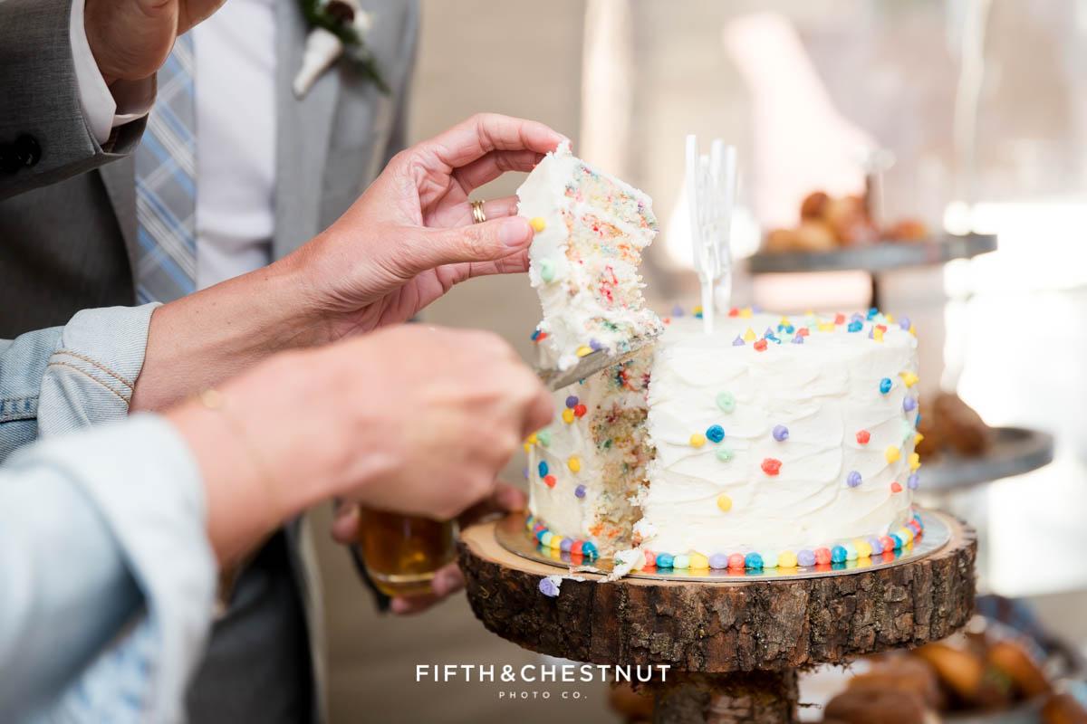 cake cutting at a lake tahoe wedding