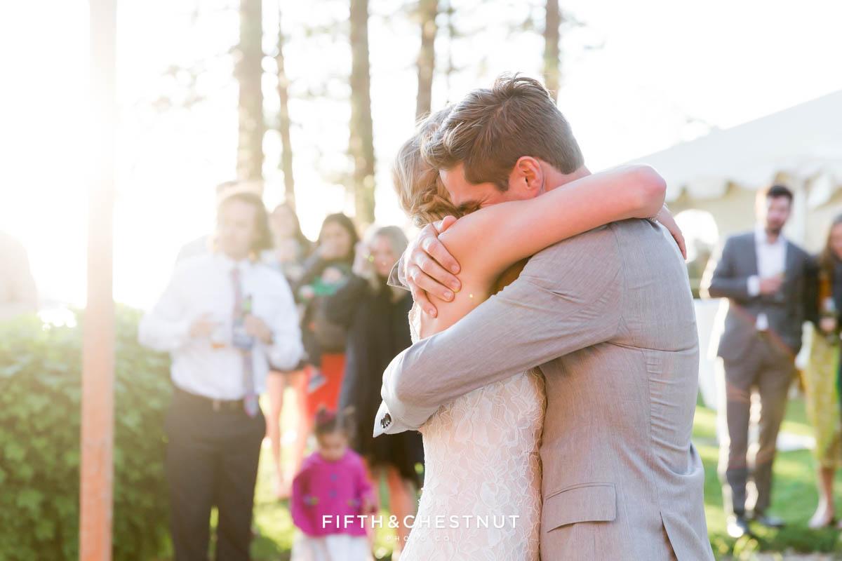 first dance at a lake tahoe wedding