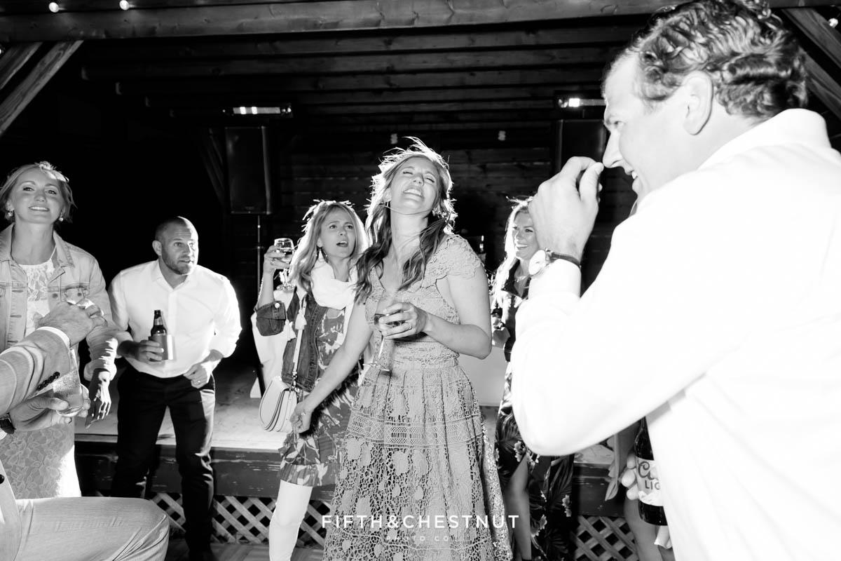dancing shenanigans at a lake tahoe wedding