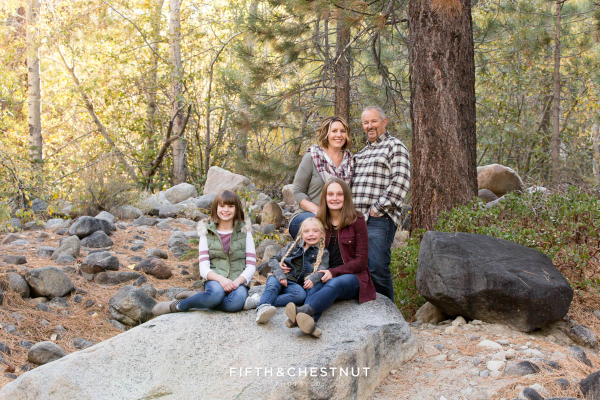 family stands together for Galena Creek Reno fall portraits