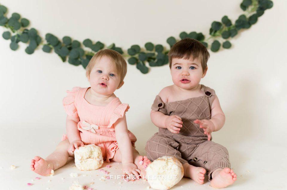 Cute Bohemian Cake Smash for Boy Girl Twins by Reno Baby Photographer