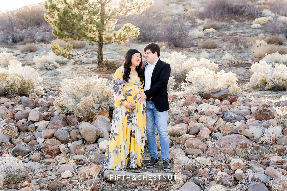 Rustic winter reno maternity photos by Reno maternity Photographer at Bartley Ranch