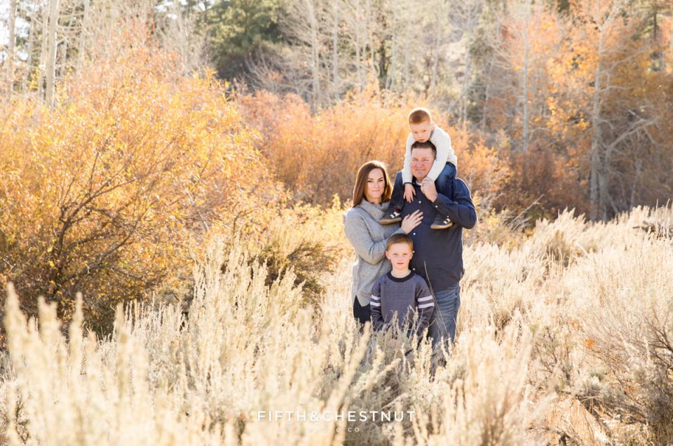 A family is backlit by the sun for Thomas Creek Portraits on a beautiful fall day.