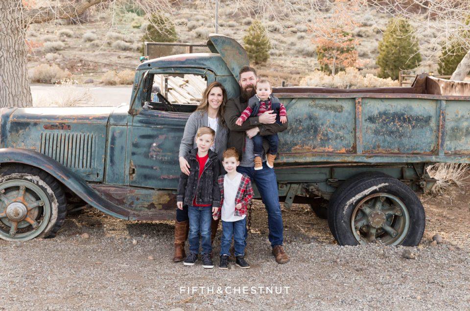 Rustic Winter Reno Family Photos with Reno Family Photographer