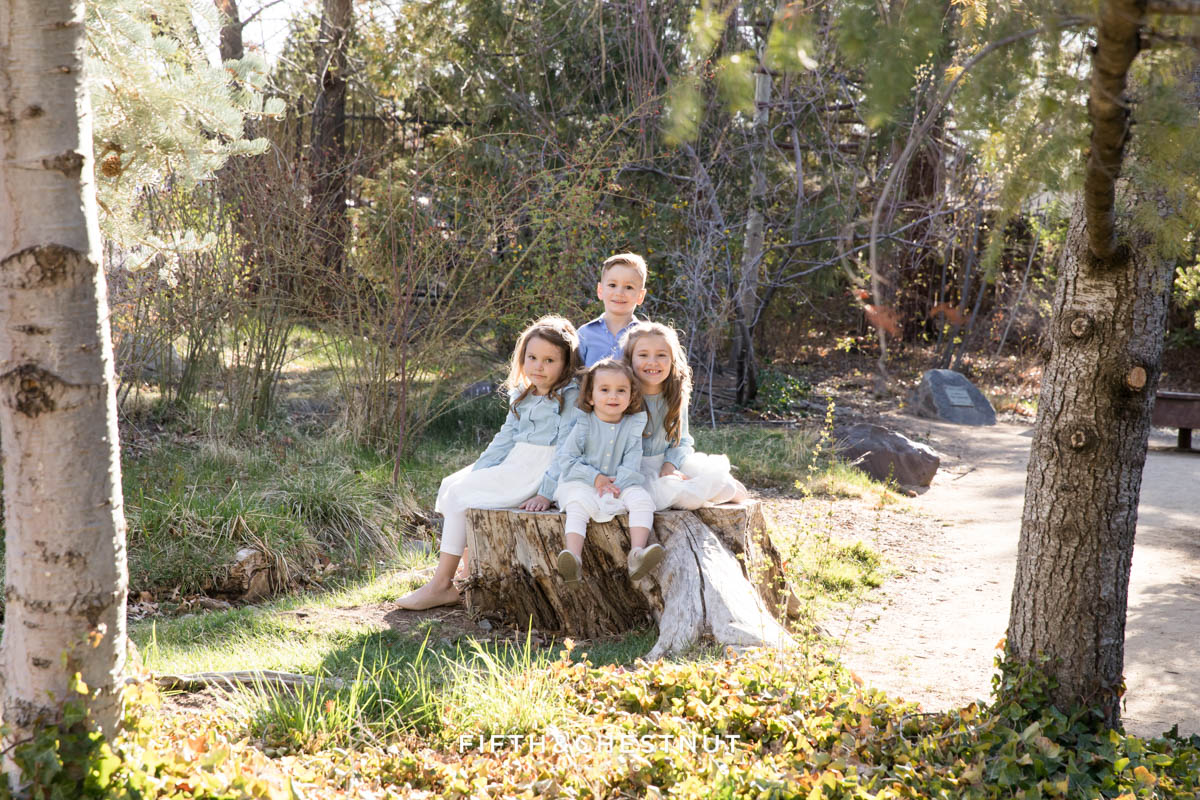 Four children sit on a log together laughing and smiling for bright and airy family portraits in a park setting by Reno Family Photographer