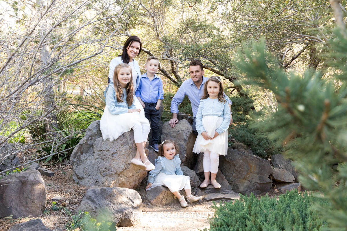 a family grouping sits together on rocks at the park for their bright and airy family portraits by Reno Family Photographer