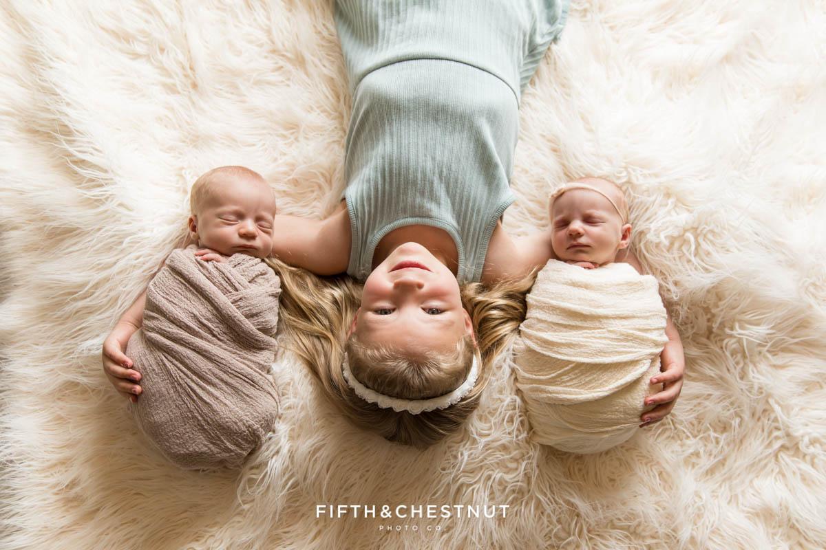 Neutral Newborn Twin Photos by Reno Family Photographer